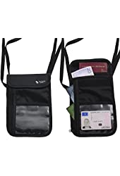 (2 Pack) The Friendly Swede Neck Pouch, Passport Holder, Travel Wallet