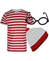 BOYS GIRLS WHERES WALLY RED AND WHITE STRIPED T-SHIRT GLASSES HAT FANCY DRESS BOOK WEEK