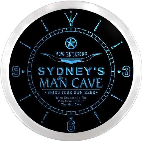 Ncpb0843-B Sydney'S Man Cave Cowboys Beer Bar Pub Led Neon Sign Wall Clock