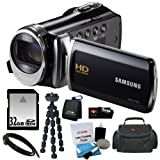 Samsung HMX-F90 5MP 1280x720 30p HD Camcorder in Black + 32GB Secure Digital Memory Card + Deluxe SLR Soft Photo & Video Medium Case w Shoulder Strap & 2 Dividers + Memory Card Wallet + 5 Piece Cleaning Kit + Vivitar 7