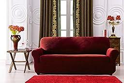 Subrtex 1-Piece Spandex Stretch Sofa Slipcover (Sofa, Wine)