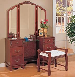 Cherry brown finish wood large dressing makeup bedroom vanity set