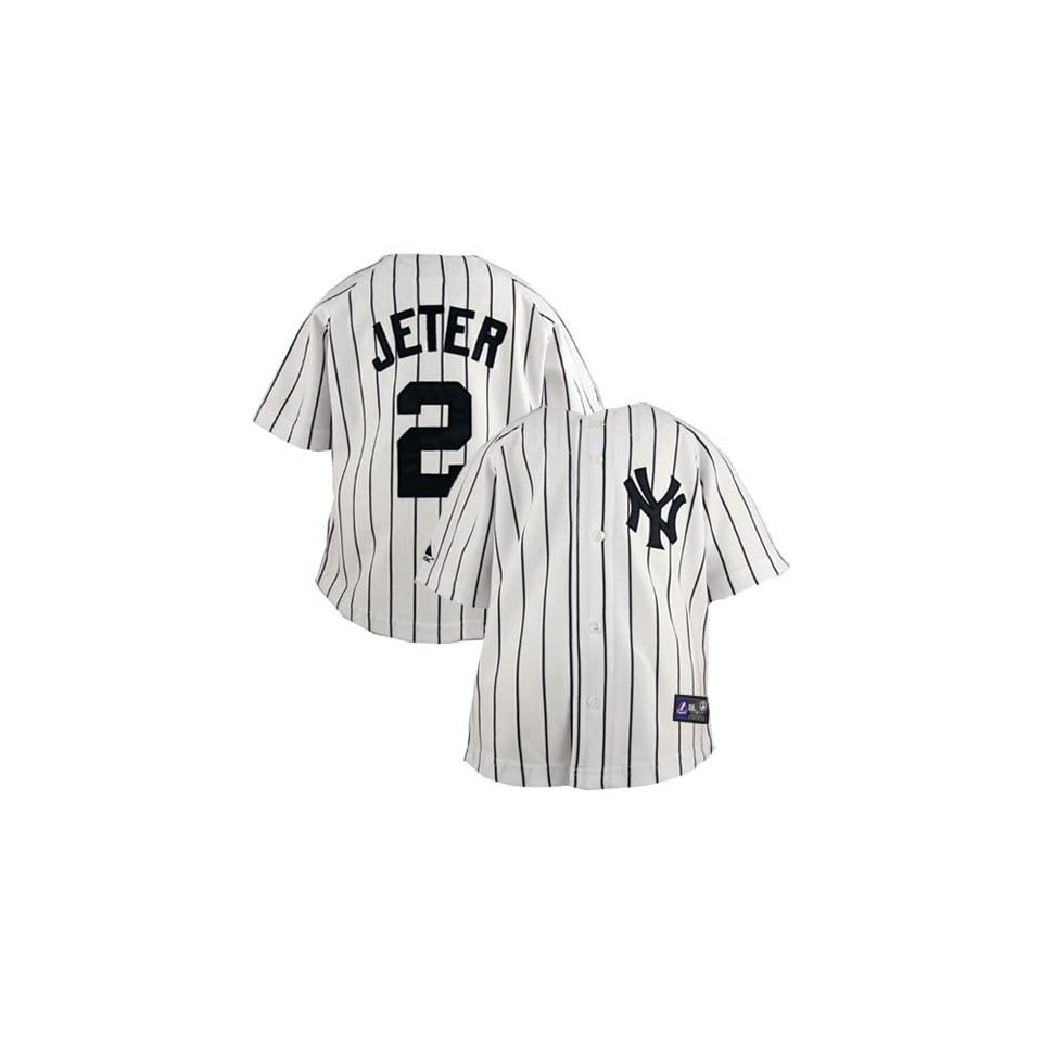 a5d3fdd6b2f Majestic Derek Jeter New York Yankees  2 Infant Pinstripe Player Replica  Jersey White