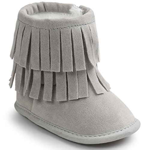 Voberry Baby Toddler Girls Boys Winter Warm Snow Boot Tassels Trimmed Boots Outdoor (0~6Month, light Gray)