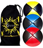 3x Pro Juggling Balls - Deluxe (LEATHER) Professional Juggling Balls Set of 3 +Fabric Travel Bag. (Red/Blue/Yellow)