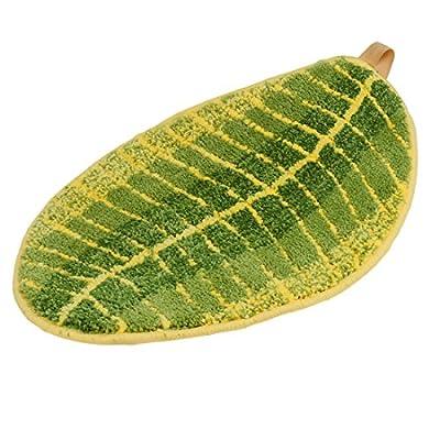 "ONEONEY Green Leaf Shaped Oval Bathmat Living Room Carpet Bedroom Rug Washable Rugs Home Decorator Floor Rug and Carpets (15.7""*23.6"")"