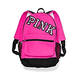 VICTORIA\'S SECRET PINK Campus Backpack - Neon Hot PINK W/Bling