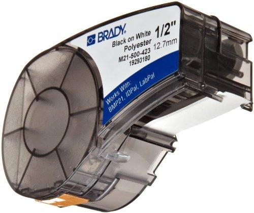 "Brady M21-500-423 21' Length, 0.5"" Width, B-423 Permanent Polyester, Black On White Color, BMP 21 Mobile Printer ID PAL And LABPAL Printer Label"