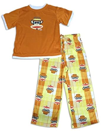 Paul Frank - Little Boys Short Sleeve Monkey Pajamas, Orange, Yellow 26321-2T