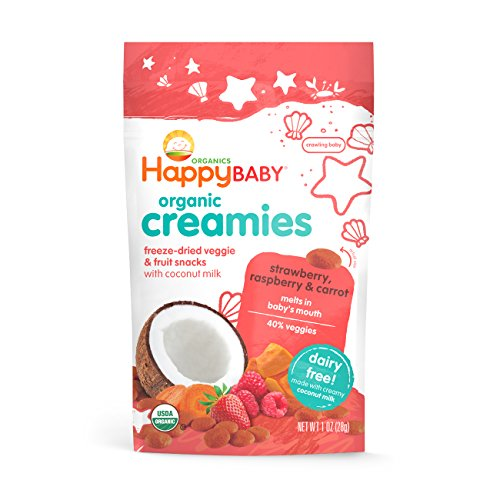 Happy Baby Organic Creamies Freeze-Dried Veggie & Fruit Snacks with Coconut Milk, Strawberry, Raspberry & Carrot, 1 oz (Pack of 8) - Packaging may vary (Organic Freeze Dried Carrots compare prices)