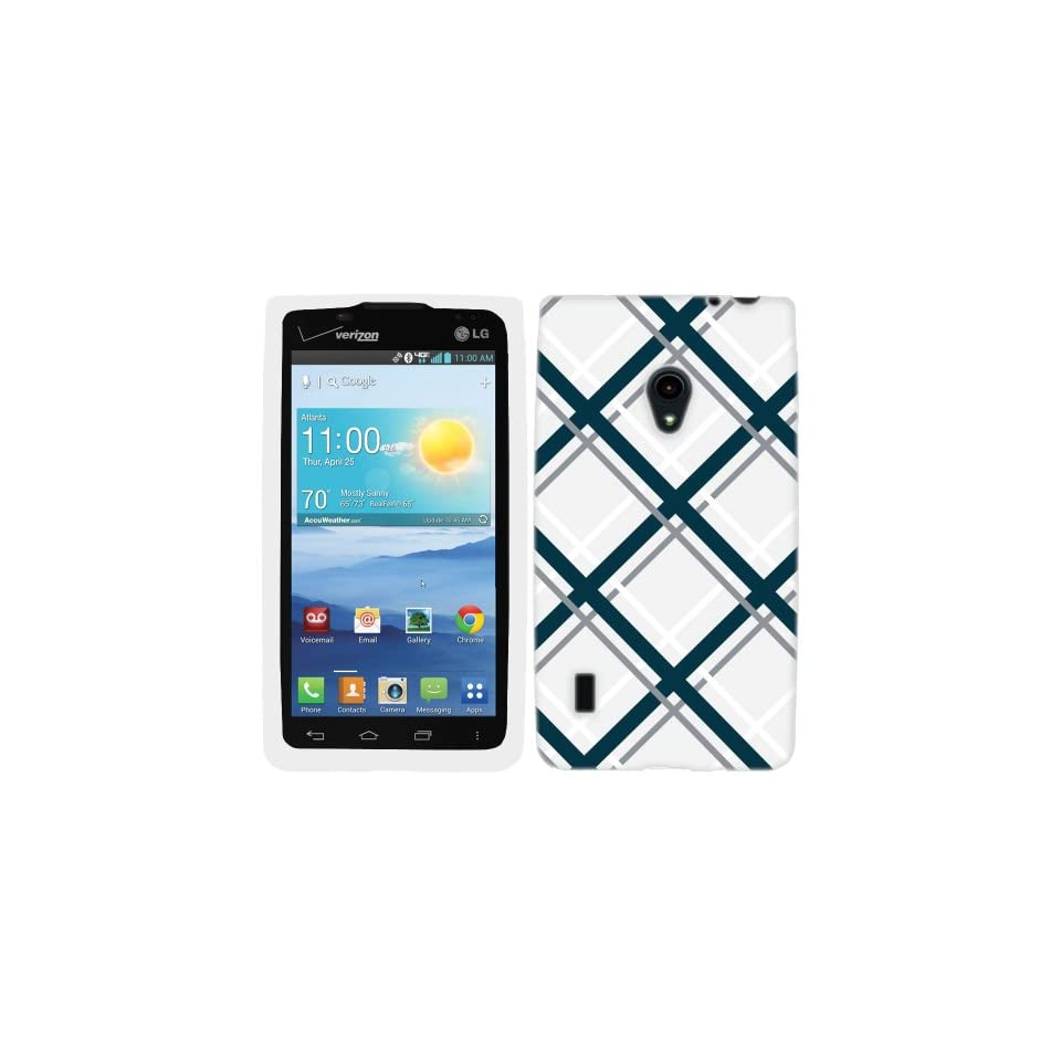 LG Lucid 2 Light Blue Black Tartan Plaid on White Hard Case Phone Cover Cell Phones & Accessories