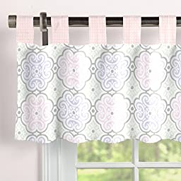 Carousel Designs Pink Modern Floral Window Valance Tab-Top
