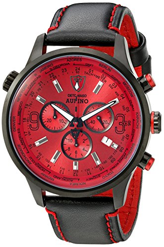 Detomaso Aurino Black/Red Men's Quartz Watch with Black Dial Chronograph Display and Black Leather Strap DT1061-G
