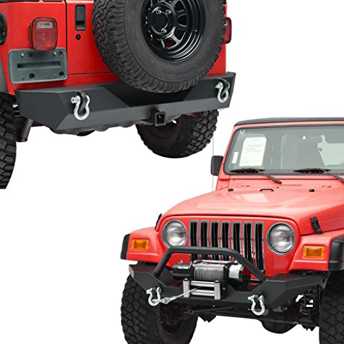 X-restyling Textured Black Front Bumper and Rear Bumper with Hitch Receiver for 87-06 Jeep Wrangler TJ YJ