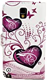 myLife White and Magenta {Butterflies and Hearts Design} Faux Leather (Card, Cash and ID Holder + Magnetic Closing) Slim Wallet for Galaxy Note 3 Smartphone by Samsung (External Textured Synthetic Leather with Magnetic Clip + Internal Secure Snap In Closure Hard Rubberized Bumper Holder)