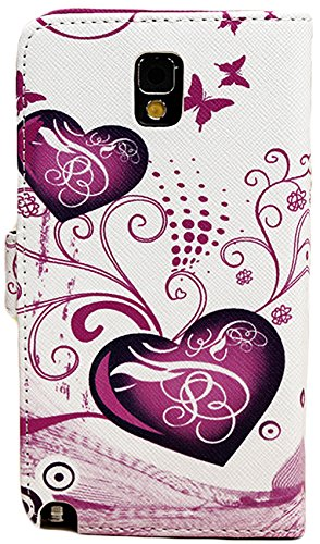 Mylife White And Magenta {Butterflies And Hearts Design} Faux Leather (Card, Cash And Id Holder + Magnetic Closing) Slim Wallet For Galaxy Note 3 Smartphone By Samsung (External Textured Synthetic Leather With Magnetic Clip + Internal Secure Snap In Closu