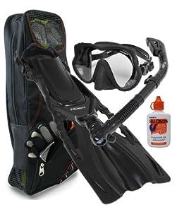 PROMATE Snorkeling Scuba Dive Frameless Mask Fins Dry Snorkel Gear bag Set, ABK-SM
