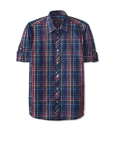 Jared Lang Men's Plaid Sport Shirt with Roll-Up Sleeves