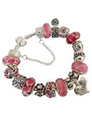 Treasured Charms & Beads Pink Sparkle 'Mummy' Charm Bracelet Gift Boxed