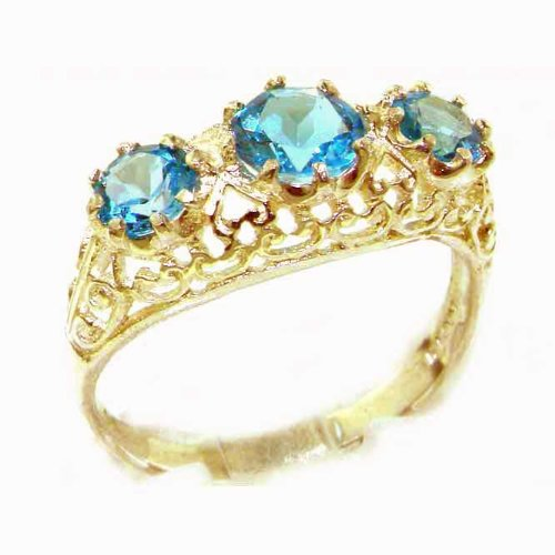 High Quality Solid Yellow Gold Genuine Blue Topaz English Filigree Trilogy Ring - Size 9.25 - Finger Sizes 5 to 12 Available