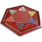"10"" Diameter Chinese Checkers Game Set with Glass Marbles, Rosewood Game Board, and Integrated Storage Corridor for Game Pieces (A0038 US)"
