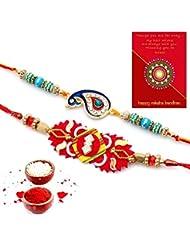 Ethnic Rakhi Designer Floral Pattern Multi-Color Fashionable And Stylish Mauli Thread And Beads Rakhi Set Of 2... - B01IIMHZ4K