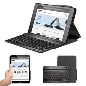 Anker® Slim Folio Bluetooth Tastatur Hülle Keyboard Case für iPad mini 2 / iPad mini - PU Ledercase und abnehmbare Deutsche Tastatur mit Magnethalterung (Tuxedo Schwarz)