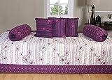 Ab Home Decor 100% Cotton Beautiful Diwan Sets ( Set Of 6 Pieces ),Purple