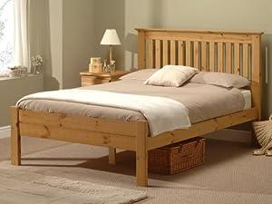 5FT King Size Snuggle Beds Alder Pine Wood Slatted Bed Frame in Antique Wax
