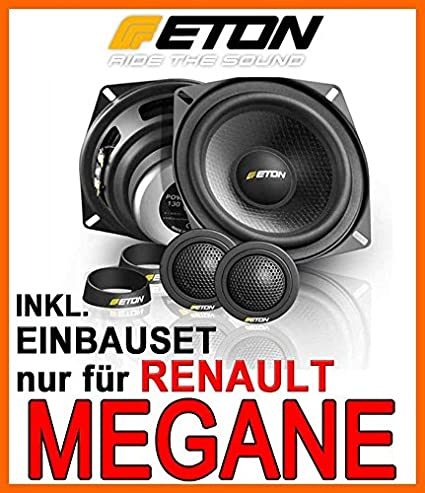 Renault Megane 1 - Lautsprecher vo + hi - Eton POW 130.2 Compression - 13cm Komposystem Einbauset