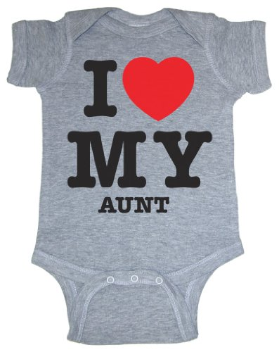So Relative! I Love My Aunt (Red Heart) Heather Grey Baby Bodysuit (Heather Gray, 6 Months) front-620194