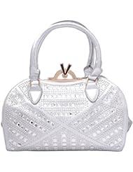 Omkar Shopy New Fashion Women's Ladies PU Hand Bag / Shoulder Bag(Silver) OS12500344