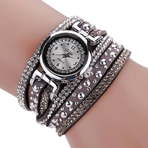 Malltop_Vintage Fashion Crystal Band Bracelet Dial Quartz Dress Wrist Analog Watch (Brown)