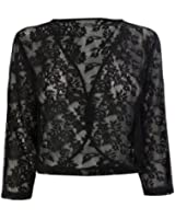 WOMENS LADIES BLACK 3/4 SLEEVE LACE SHRUG CARDIGAN BOLERO TOP PLUS SIZES 16 18 20