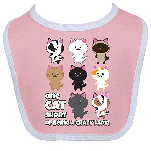 Inktastic Baby Boys' Crazy Cat Lady Baby Bib One Size Pink/White