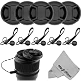 (10 Pcs Bundle) 5 Center Pinch Lens Cap (58mm) and 5 Cap Keeper Leash for Canon, Nikon, Sony and any other DSLR Camera + MagicFiber Microfiber Premium Lens Cleaning Cloth