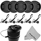 5 Center Pinch Lens Cap and 5 Cap Keeper Leash for Canon, Nikon, Sony and any other DSLR Camera + MagicFiber Microfiber Premium Lens Cleaning Cloth