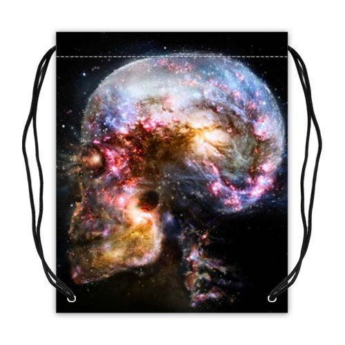 Space Galaxy Nebula Skull Collection Drawstring Backpack Basketball Drawstring Bags Soccer Ball Bag Volleyball Bag(Twin Sides) by Skull Basketball Bags