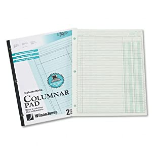 Wilson Jones ColumnWrite Columnar Pad, 11 x 8.5 Inch Size, Ruled Both Sides Alike, 41 Lines per Page, 2 Columns, Green, 50 Sheets per Pad (WG7202A)