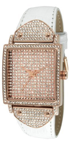 Peugeot Couture J5667RG Crystal Case Rose Gold White Leather Watch