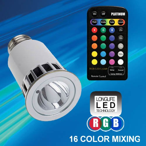 Color Changing LED Globe Light Bulb and Remote (Standard screw-in E27 base)