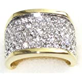 Ah! Jewellery. Amazing Two Tone Wide Pave Ring. Encrusted With Finest Lab Diamonds. Outstanding Quality