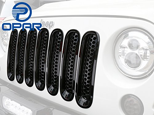 [Upgrade Clip in Version] Opar Black Front Mesh Grille Insert for 2007-2017 Jeep Wrangler JK - 7 Pieces (Grill Cover Insert compare prices)
