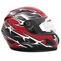 Motorcycle Full Face Helmet DOT Street Legal +2 Visors Comes with Clear Shield and Free Smoked Shield - Spikes RED 118S (Medium) by MMG