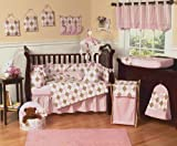 Pink and Brown Argyle Baby Bedding - 9pc Crib Set