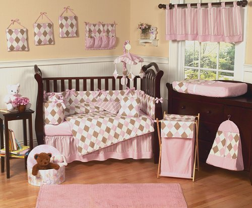 Pink and Brown Argyle 9 pc Baby Girl Crib Bedding Set by JoJo Designs