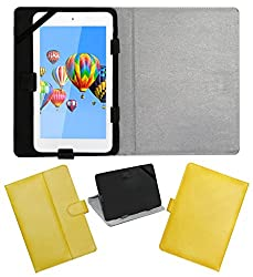 ACM LEATHER FLIP FLAP TABLET HOLDER CARRY CASE STAND COVER FOR DIGIFLIP PRO ET701 TAB YELLOW