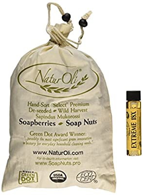 NaturOli Soap Nuts / Soap Berries. 1-Lb USDA ORGANIC + 18X BONUS! Select Seedless. Wash Bag, Tote Bag, 8-pg info. Organic Laundry Soap / Natural Cleaner. Processed in USA!