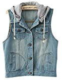 VonFon Womens Sleeveless Hooded Bleached Casual Denim Vest Jacket Dark blue