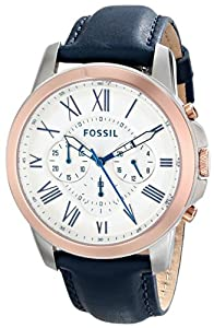 Fossil Men's FS4930 Grant Analog Display Analog Quartz Blue Watch